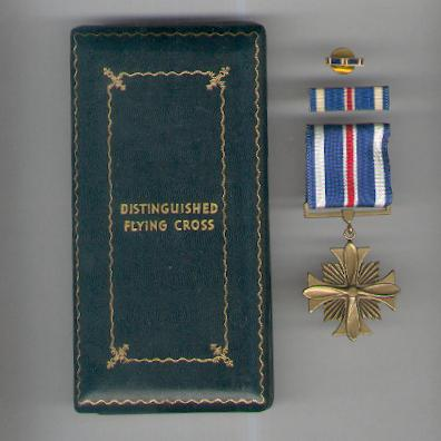 Distinguished Flying Cross with ribbon bar and enamel lapel bar in World War II vintage case of issue