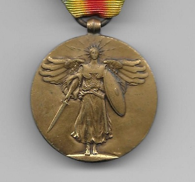 Inter-Allied Victory Medal, United States of America official issue, 1917-1918 with 'St. Mihiel', Meuse-Argonne' and 'Defensive Sector' clasps (35th, 78th, 80th, 82nd, 89th and 90th Divisions Entitlement)