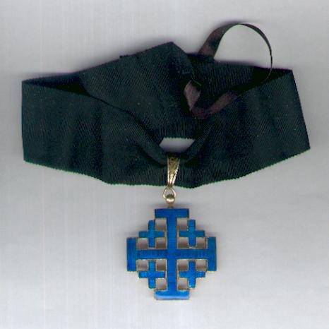 Uncertain Order in the form of the Equestrian Order of the Holy Sepulchre of Jerusalem, commander, bright blue enamel