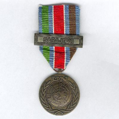 UNPROFOR (United Nations' Protection Force) medal with 'SARAJEVO' bar