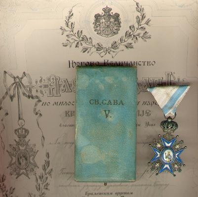 Order of St. Sava, V class, 1921-1945 issue (Saint in Green Robes), in original fitted case of issue and with rare numbered, signed and dated certificate of award