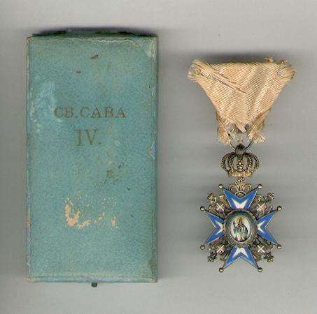 Order of St. Sava, IV class, 1921-1945 issue (Saint in Green Robes), in original fitted embossed case of issue by Huguenin Frères of Le Locle, Switzerland