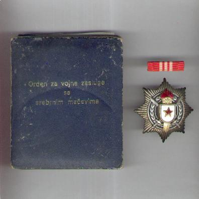 Order of Military Merit with Silver Sword (Orden za Vojne Zasluge sa Srebrnim Mačevima), early 5-torch version, silver, with ribbon bar, in fitted embossed case of issue
