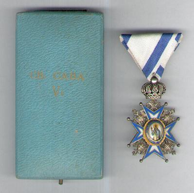 Order of St. Sava, V class, 3rd type, 1921-1945 issue (Saint in Green Robes), in original fitted embossed case of issue by Huguenin Frères of Le Locle, Switzerland