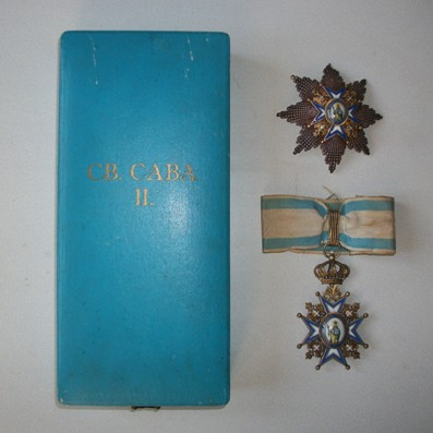 Order of St. Sava, Grand Officer (II class) set of insignia, 1921 onwards issue (Saint in Green Robes), in original fitted embossed case of issue by Huguenin Frères of Le Locle, Switzerland
