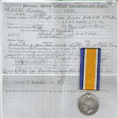 British War Medal, 1914-1920, attributed, 1st Cape Corps (1ste Kaapse Korps)