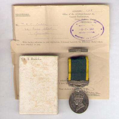 Efficiency Medal, 1939-1952 issue, attributed, South African Air Force, with unmounted Additional Service bar, pasteboard box of issue, original manila medal envelope and named forwarding document from the Adjutant-General of the Union Defence Forces