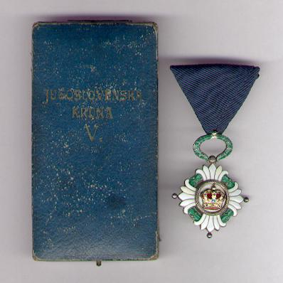 Order of the Yugoslav Crown, knight, in original embossed fitted case of issue by Huguenin Frères