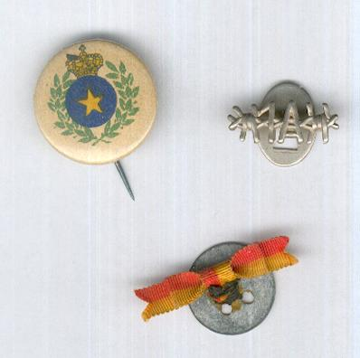 Three Belgian Lapel Badges: Commemorative Medal for the Congo; Liege Medal 1914; Stalag 1A Former Prisoner of War