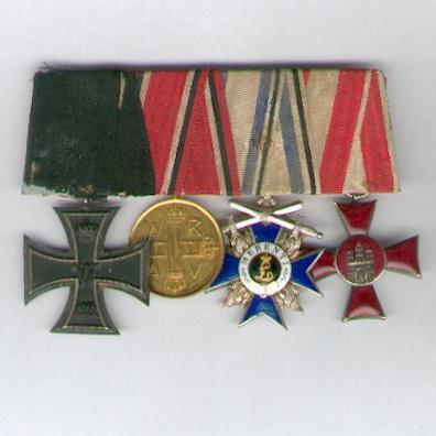 Great War Group of Four: PRUSSIA Iron Cross, II class and Medal of Honour of the Prussian Red Cross III class, BAVARIA Order of Military Merit IV class Cross with Swords and HAMBURG Hanseatic Cross (Hanseatenkreuz), parade mounted