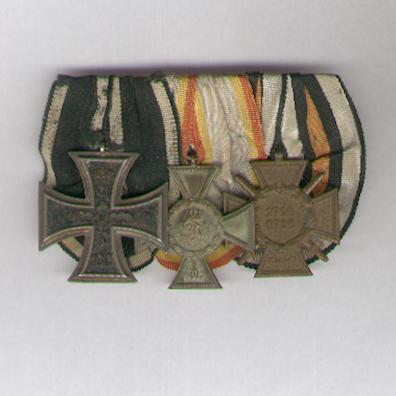 Great War Trio: PRUSSIA Iron Cross, II class by Neun of Saxony, MECKLENBURG-STRELITZ Cross for Distinction in War, II class on combatant's ribbon and GERMAN EMPIRE Cross of Honour of the World War, combatant, by Erbe, court-mounted