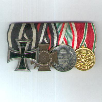 Great War Group of Four: PRUSSIA Iron Cross, II class, 1914 issue; GERMANY Cross of Honour 1914-18, combatant; HUNGARY Commemorative Medal for World War I, combatant and BULGARIA Commemorative Medal for the War of 1915-1918; parade mounted