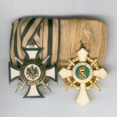 Great War Veteran Pair:  PRUSSIA.  Commemorative War Cross for Combatants with Swords of the Union of Prussian War Participants and SAXONY, KINGDOM.  War Honour Cross, II class of the League of Saxon Front Soldiers, court-mounted