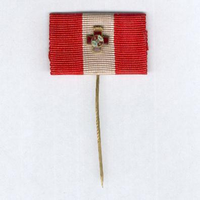 Order of Military Merit, I Class Cross with Red Distinction (Orden del Mérito Militar, Cruz del 1ª Clase con Distintivo Rojo), ribbon-mounted stickpin with miniature, 1938-1970 wartime issue