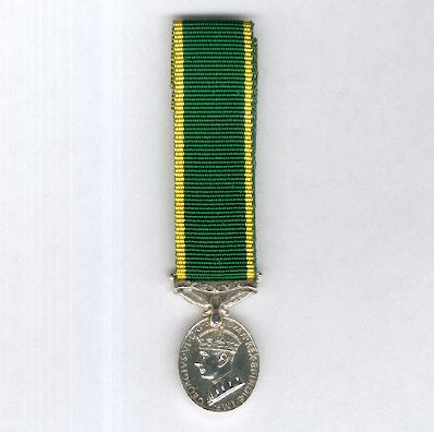Efficiency Medal, George VI, 1st type, 1937-1948 issue, with 'Kenya' suspension bar, miniature