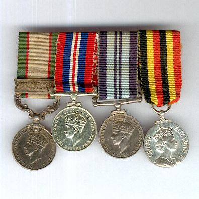 Interesting and Rare Miniature Group of Four: India General Service Medal 1936-1939 with 'North West Frontier 1936-37' clasp, War Medal 1939-1945, India Service Medal 1939-1945 and Uganda Independence Medal 1962, bar-mounted