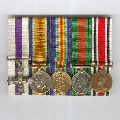 Miniature Group of Five: Military Cross 1914-20, British War Medal 1914-1920, Inter-Allied Victory Medal 1914-1919, Defence Medal 1939-1945 and Special Constabulary Long Service Medal George V issue, court-mounted