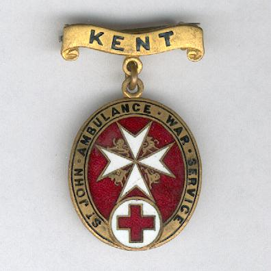 Order of St. John of Jerusalem in England War Service Badge, Kent, 1914-1919, numbered