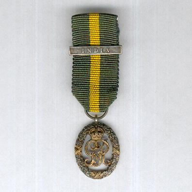 Efficiency Decoration, Indian Volunteer Forces, George V issue, 1930-1935 with 'India' clasp, miniature