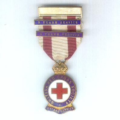 British Red Cross Society, Three-Year Service Badge with two additional '3 Year Service' bars, 1922-1955 issue, numbered