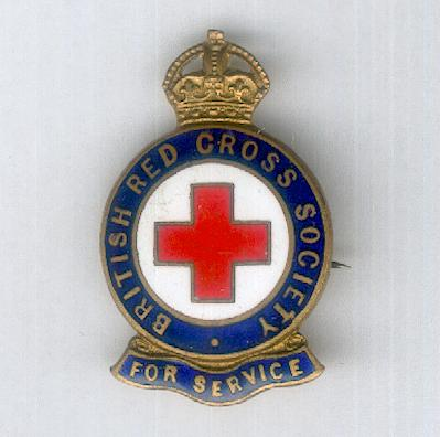 British Red Cross Society Badge for Service, 1922-1955 issue, numbered, by J.R. Gaunt & Son Ltd. of London