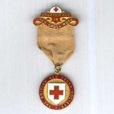 British Red Cross Society, County Badge, 1911-1956 issue, with Proficiency in Red Cross Work top bar, by J.R. Gaunt of London