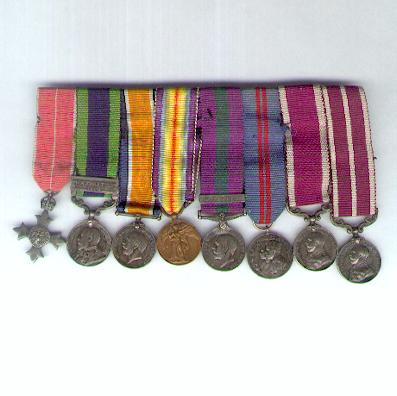 India, Great War and Southern Persia Miniature Military M.B.E. and Meritorious Service Medal Group of Eight, bar-mounted for wear