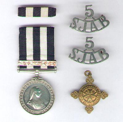 Service Medal of the Order of St. John of Jerusalem, with 5-year bar, attributed to Elizabeth J. Hinton in 1954, with ribbon bar and St. John's Ambulance Association Re-Examination Medallion, 4th issue, also attributed, and two '5 SJAB' shoulder tabs