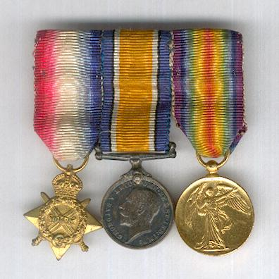 Great War Miniature Star Trio: 1914-15 Star, British War Medal 1914-1920 and Inter-Allied Victory Medal, Great Britain and British Empire issue 1914-1919, mounted for wear by J.R. Gaunt of Montreal