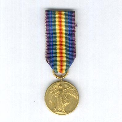 Inter-Allied Victory Medal, Great Britain and British Empire issue, 1914-1919, miniature