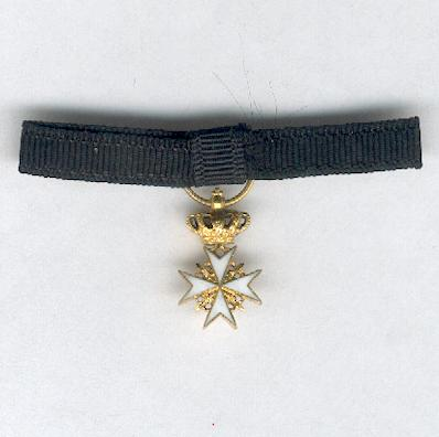 Sovereign Military Hospitaller Order of Saint John of Jerusalem, of Rhodes and of Malta, Knight or Dame III class, 1st to 5th category, miniature