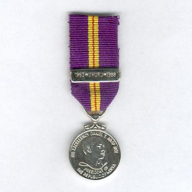 Medal for the 25th Anniversary of Independence, 1988, with '1963 * UHURU*1988' bar, miniature