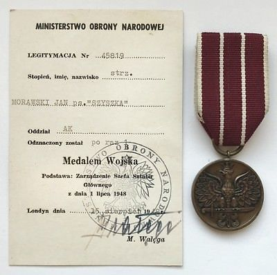 Army Medal for the 1939-1945 War (Medal Wojska za Wojne 1939-1945) with award document