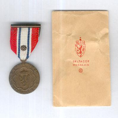 Participation Medal (Deltagermedaljen) 1940-1945 ('Narvik' medal) with rosette and envelope of issue by J. Tostrup of Oslo