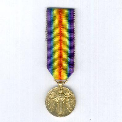 Inter-Allied Victory Medal, Portuguese official issue, type 2 (Medalha da Vitória) 1916-1918, miniature
