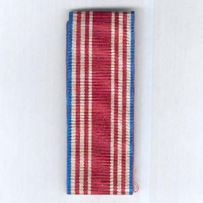 UNCERTAIN RIBBON. White with a broad red centre stripe, two thinner red side stripes and blue edge stripes
