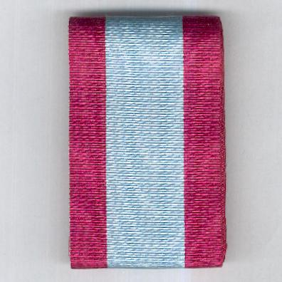 UNCERTAIN RIBBON. Broad pale blue with maroon edge stripes