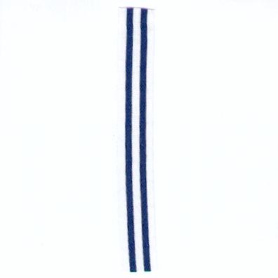 UNCERTAIN RIBBON. White with two navy blue stripes, miniature