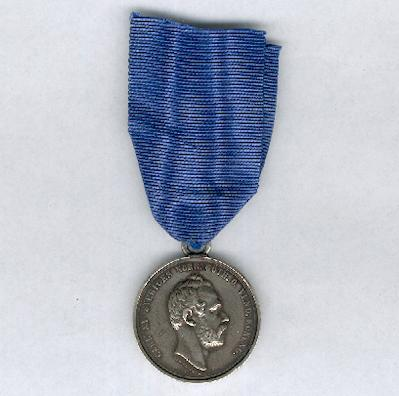 Royal Pro Patria Society (Kungliga Sällskapet Pro Patria) Silver Medal for Fidelity and Diligence, Carl XV, attributed in 1863