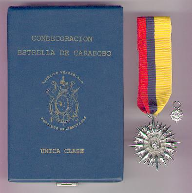Order of the Star of Carabobo (Condecoración Estrella de Carabobo), with miniature, in fitted embossed case of issue by N. S. Meyer of New York